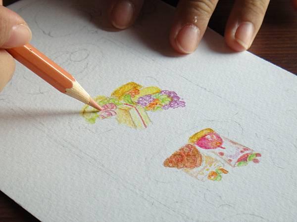 》學生英式下午茶淡彩畫練習(6)