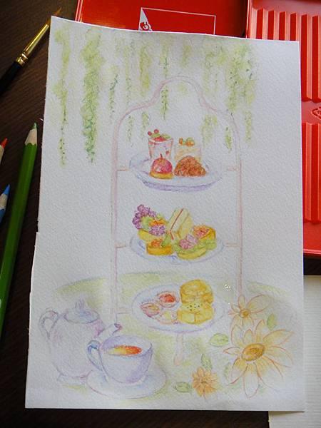 》學生英式下午茶淡彩畫練習(成品)
