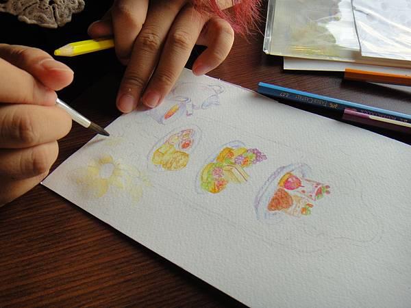》學生英式下午茶淡彩畫練習(10)