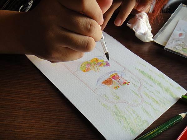 》學生英式下午茶淡彩畫練習(11)
