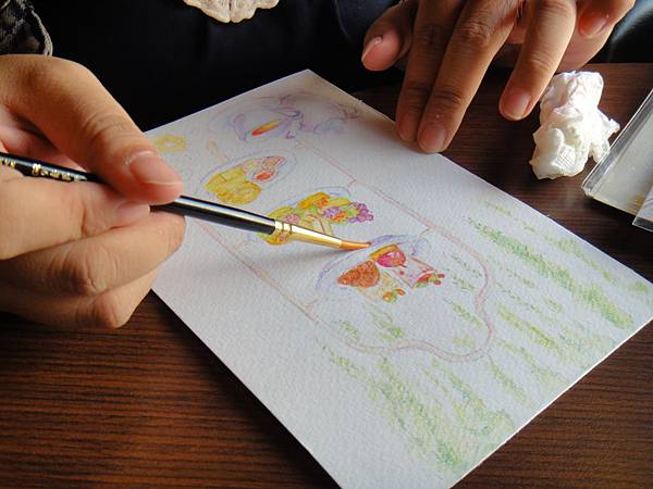 》學生英式下午茶淡彩畫練習(13)