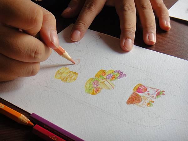 》學生英式下午茶淡彩畫練習(7)