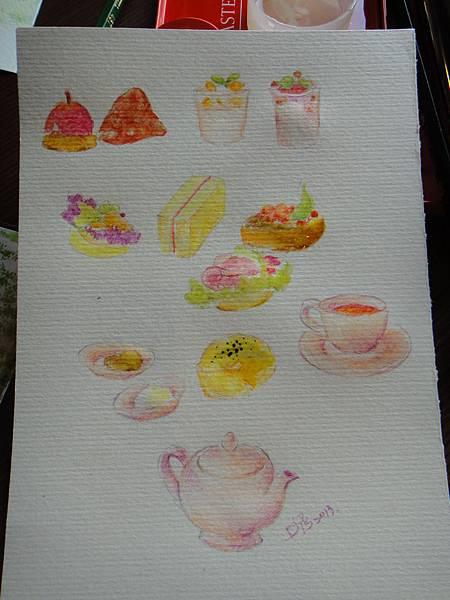※英式下午茶淡彩畫個別單品示範圖