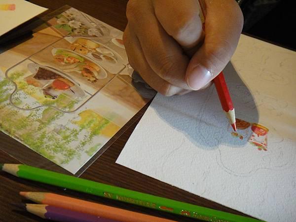 》學生英式下午茶淡彩畫練習(4)