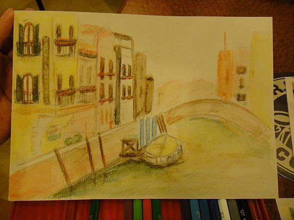 》學生色鉛刷水風景畫(成品)
