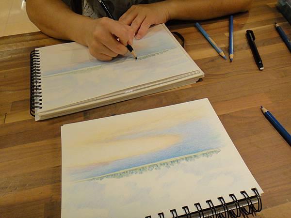 》學生色鉛海景畫練習(4)