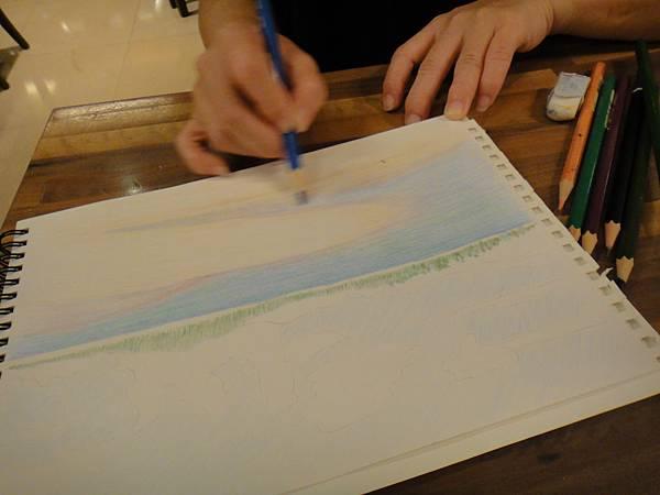 》學生色鉛海景畫練習(3)