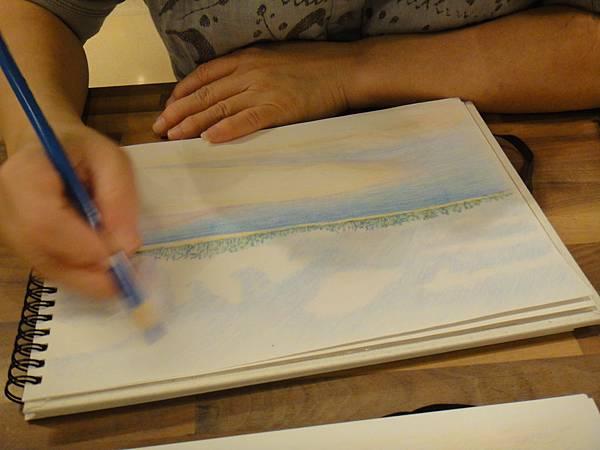 》學生色鉛海景畫練習(5)