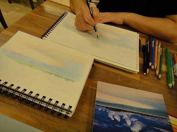 》學生色鉛海景畫練習(2)