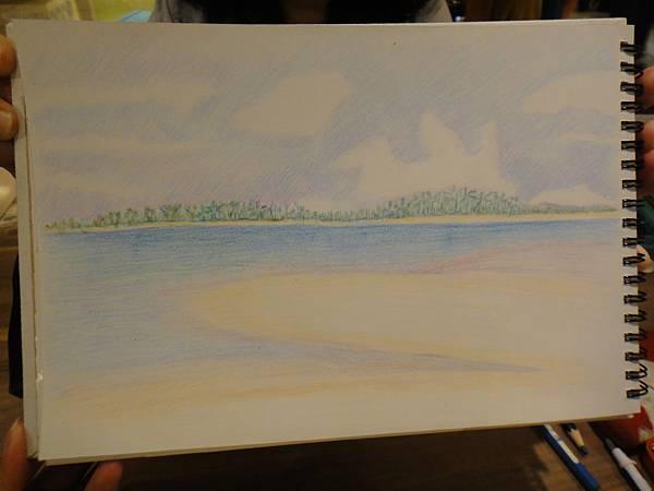 》學生色鉛海景畫練習(6)