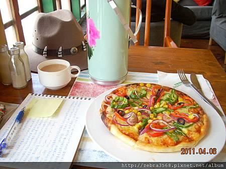 蔬菜披薩+甜茶