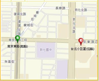步行直達_起點 捷運南京東路站→迄點台北小巨蛋