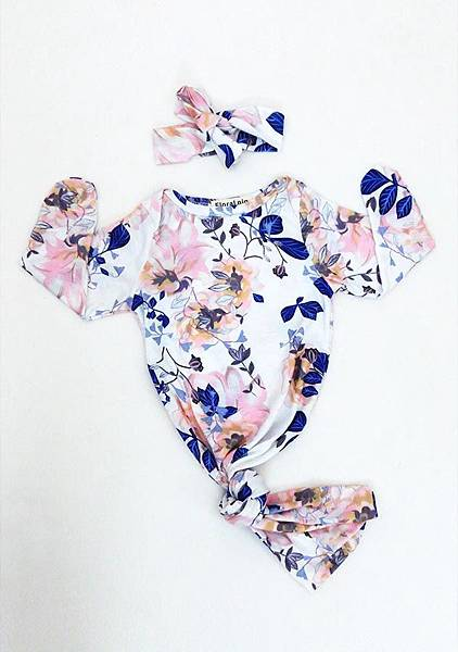 Blue Floral Printed Two Pieces Kids Crawl Suit -.jpg