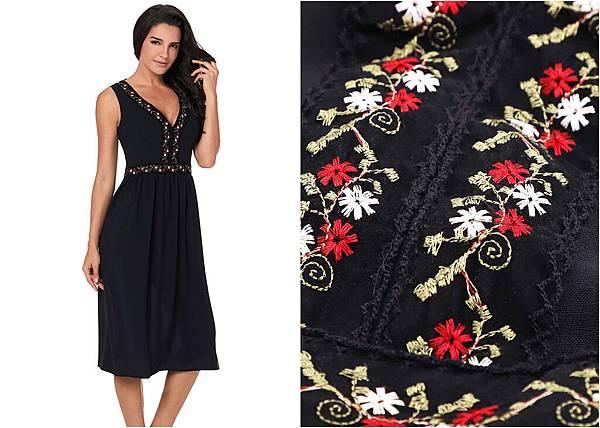 4147Sexy Sleeveless V Neck Embroidery High Waist Dress1.jpg