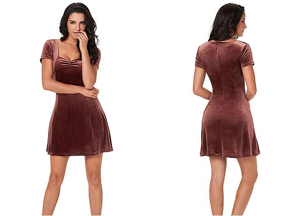 4153Brown Velour Short Sleeves Mini Dress_1.jpg