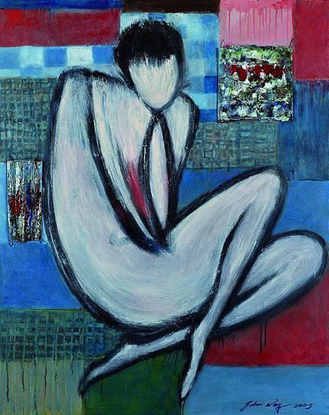 魏樂唐(華裔美籍1921-2012) 窈窕的沉思  油彩 雙琺瑯 畫布 101x127cm 2005年