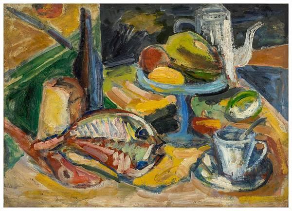 張萬傳(1909~2003) 靜 物  油彩 紙本貼於畫布  54x39cm 1954年