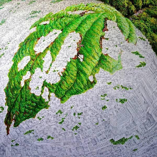 洪天宇 綠葉方舟 壓克力彩 畫布174x174cm 2015