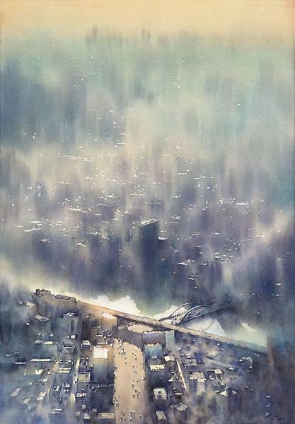 微光城市-數星星「glimmering city-star」77x54cm 2016.jpg