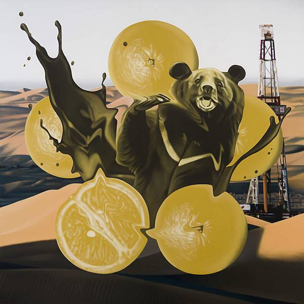 黃舜廷 有錢圖-熊、五橘 Acrylic on canvas 150x150cm 2015.jpg