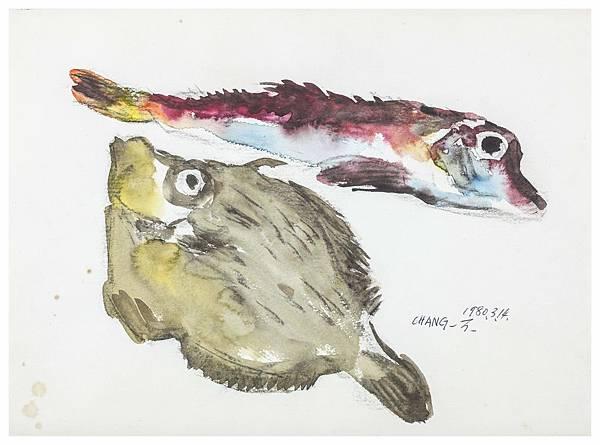 張萬傳 雙魚 水彩 紙本 25x35.7 cm 1980 .JPG