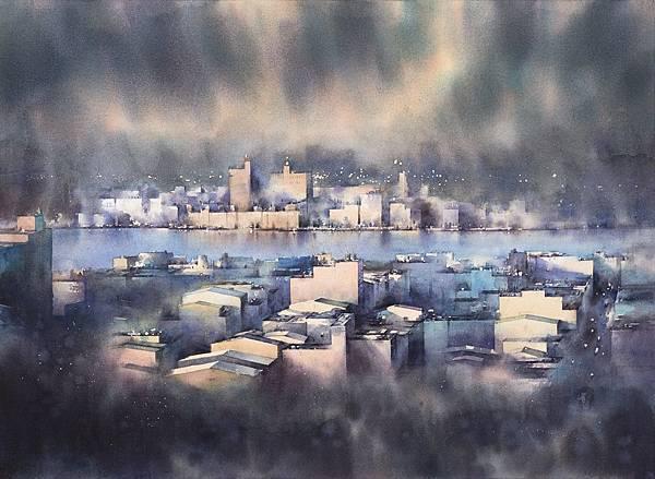 莊凱評 微光城市-19 水彩 紙本   55x75 cm (21號) 2017