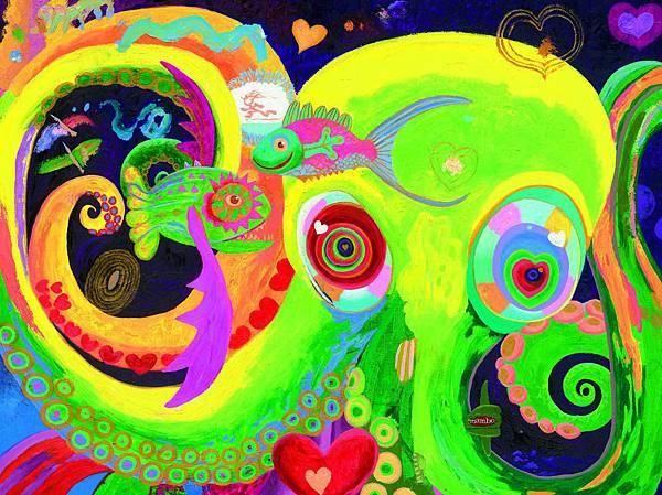 李民中 快樂的章魚與兩條魚 油彩 畫布 150x200 cm 2015.jpg