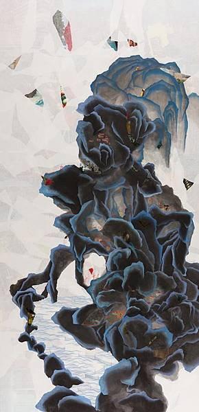陳芷若 醒目的平靜 複合媒材 紙本 油煙墨 傳統水墨顏料 水墨用紙  165x80 cm 2014