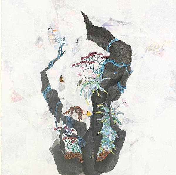 陳芷若 斑斕太陽下 複合媒材 紙本 油煙墨 傳統水墨顏料 水墨用紙  80x80 cm 2014