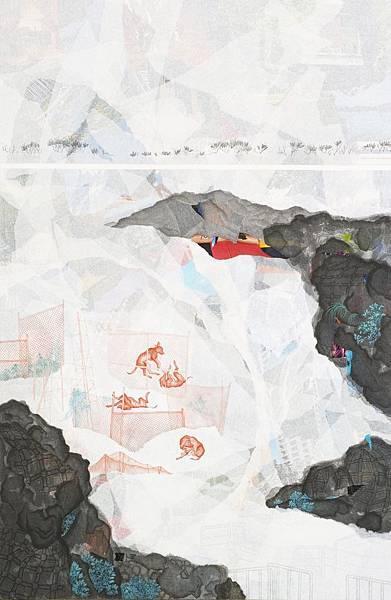 陳芷若 一群 複合媒材 紙本 松煙墨 傳統水墨顏料 水墨用紙 110x72 cm 2014