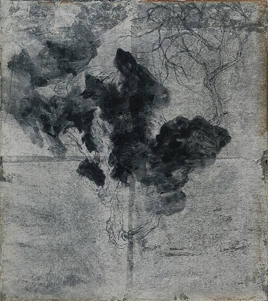 陳芷若 無題no2 銀箔 油煙墨 傳統水墨顏料26.5x23.5cm 2018