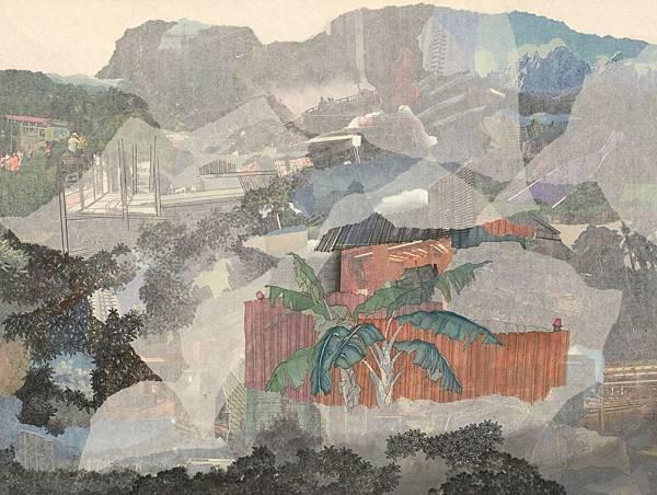 陳芷若 之間 複合媒材 紙本 油煙墨 傳統水墨顏料 水墨用紙 55x73 cm 2015