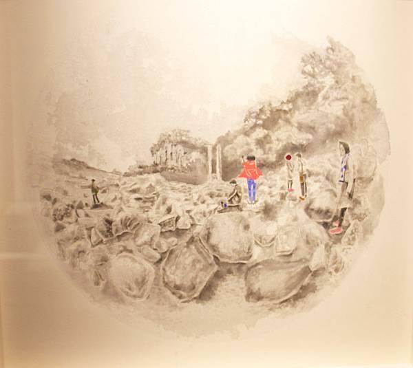 黃琬玲 正房瀑布 墨汁 宣紙 壓克力 膠 42x42 cm 2018.jpg