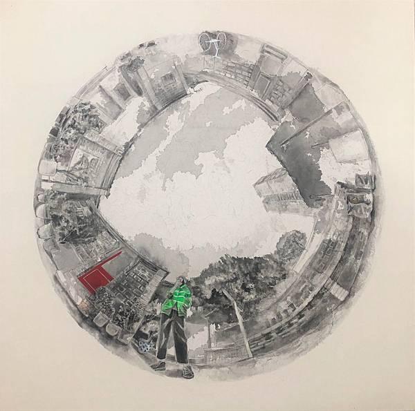 關渡老宅,42x42cm,墨汁.宣紙.壓克力.膠.ink.xuan paper.acrylic.glue.2018.jpg.JPG