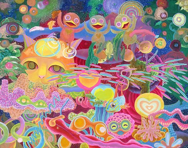 李民中 宇宙精靈祈福台灣永和平 油彩 畫布 126.5x161.5 cm 2018.jpg