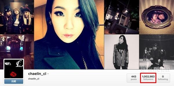 CL Instagram 粉絲破百萬